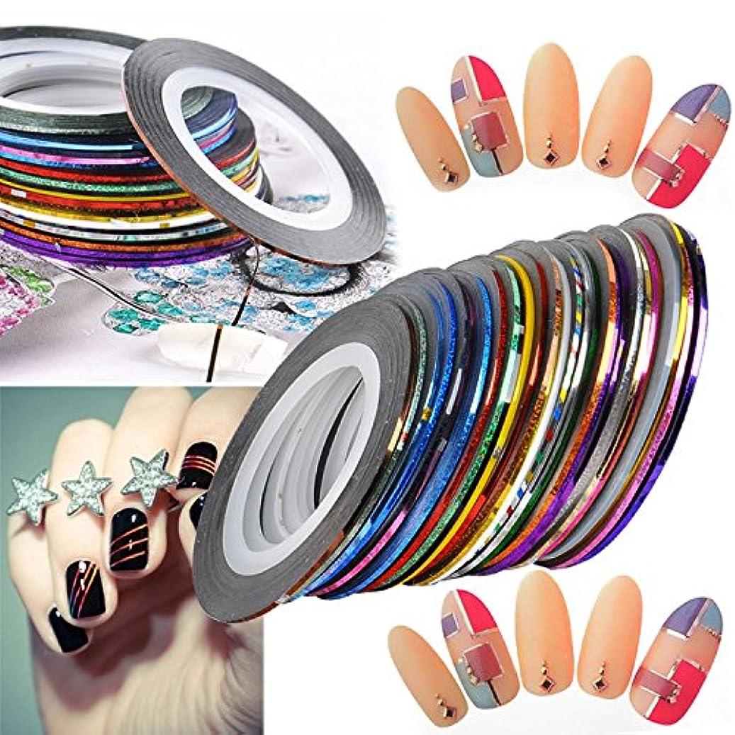 第二レザー犠牲ネイルアート用 ラインテープ 爪 飾り用品 カラフル 綺麗 ラインアートテープ 30種セット