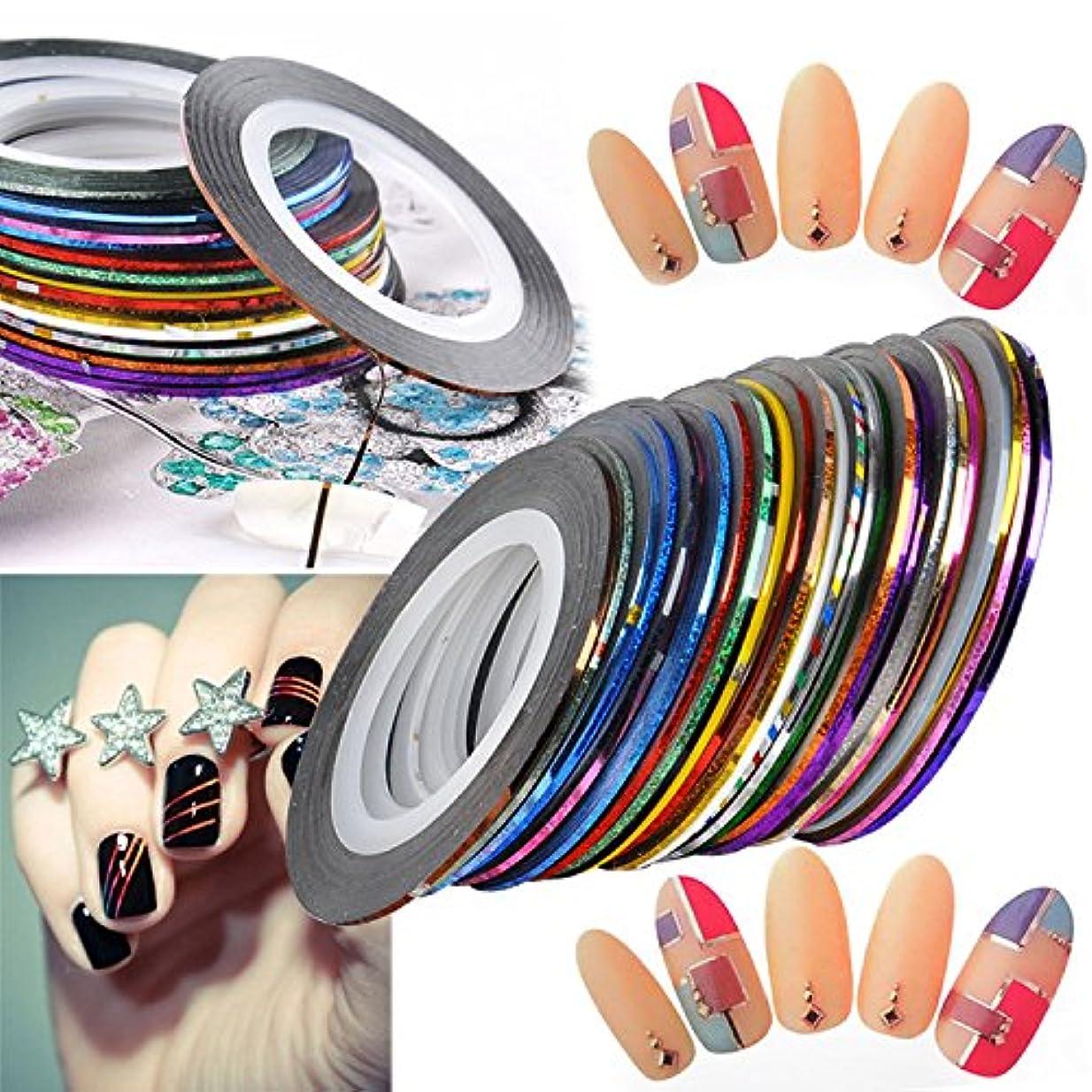 同様のに賛成牧師ネイルアート用 ラインテープ 爪 飾り用品 カラフル 綺麗 ラインアートテープ 30種セット