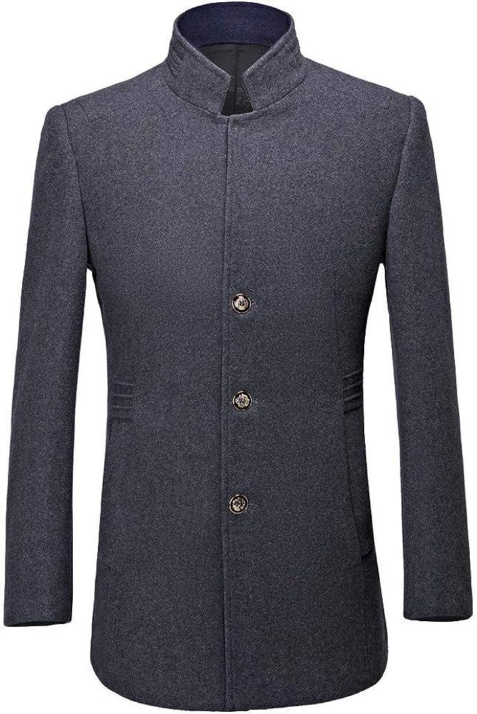 Men's Wool Coat, Mens Casual Trench Coat Fashion Business Long Overcoat Jacket Suit Jacket Coats Business Lapel Suit