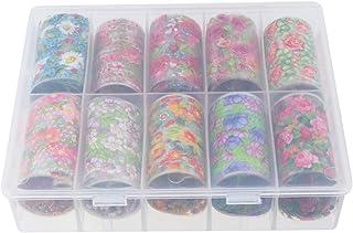 Lurrose Calcomanía de papel de uñas de 10 rollos vintage floral transfer nail sticker manicura colorida etiqueta decorativa para mujeres (estilo f)
