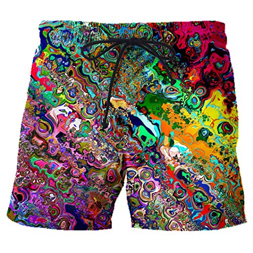 Pantalones Cortos de Playa para Hombre con Estampado 3D para Hombre/Mujer, Pantalones Cortos de Verano para Hombre Trippy 3D Shorts Asian Size M