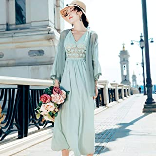ABDKJAHSDK Summer New Product Two Pieces V-Neck Lace Hollow Ladies Chiffon Dress Pea Green