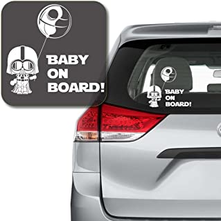 """Yoonek Graphics Baby on Board Starwars Inspired Decal Sticker for Car Window, Laptop and More # 998 (6"""" x 6.5"""", White)"""