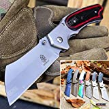 KCCEDGE BEST CUTLERY SOURCE EDC Pocket Knife Camping Accessories Razor Sharp Edge Cleaver Blade Folding Knife Camping Gear Survival Kit 57598 (Red/Black)
