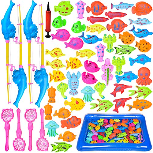 FUN LITTLE TOYS 60 PCs Magnetic Fishing Toys with 22.8 in Fishing Pool, 4 Fishing Rodes, Toddler Bath Toys, Water Toys Fishing Game for Kids