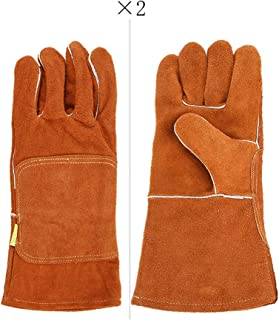 HMMSP Work Gloves Electric Welding Soft Leather Gloves Industrial High Temperature Gloves Insulation Anti-scalding Thick Long Labor Insurance Welder Gloves/Two Pairs (Color : Orange)