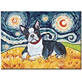 5D DIY Diamond Painting Embroidery Boston Terrier Square/Round Full Display Rhinestones Pet Dog Starry(40x30cm)