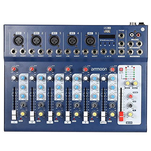 Mixer, ammoon F7-USB 7-Kanal-Mikrofon-Digital-Audio-Mixer mit USB-Eingang + 48 V Phantomspeisung, 3 Equalizer-Bändern für Karaoke-Musikliebhaber auf der DJ-Bühne