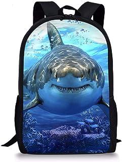 Mochila infantil infantil infantil de escuela grande, unisex, diseño de dinosaurio, tiburón, tigre y animal, Tiburón 4 (Azul) - Nopersonality