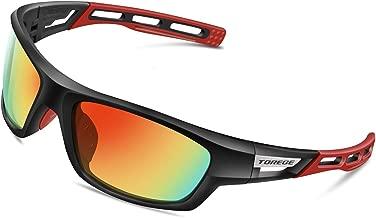 TOREGE Polarized Sports Sunglasses for Men Women Cycling Running Driving Fishing Golf Baseball Glasses EMS-TR90 Frame TR007