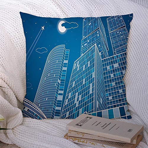 Decorative Throw Pillow Cover Polyester Architecture Business Neon Contour Best Energy Technology City Infrastructure Industrial Landmarks Cushion Covers Case for Couch Bed Home Decor 20x20 Inch