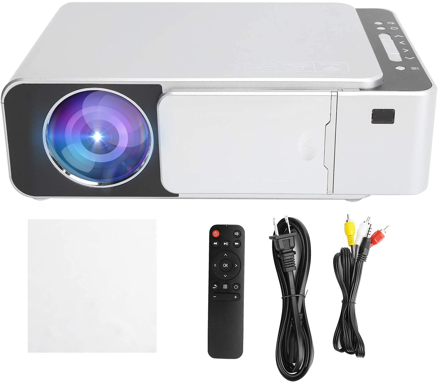 Wisoqu Projector,55W 100‑240V Same Screen Projection Equipment Portable Home Theater HD 1080P Projector,Compatible with Mobile Phones Tablets Laptops and Other Devices(White)