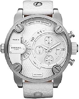 Mens SBA Analog Stainless Watch - White Leather Strap - White Dial - DZ7265
