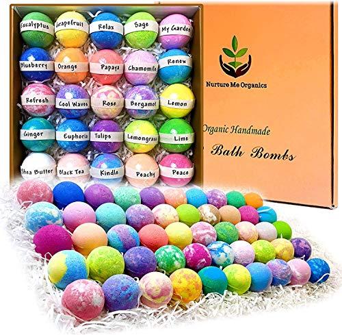 Bulk Bath Bombs Gift Set. Organic & Natural Spa Bath Bomb Set of 50. Individually Wrapped She Butter Bath Bombs Kit. Best Bath Bomb Women Men Teens Kids Sulfate Free Moisturizing Bath Balls Gift Set…