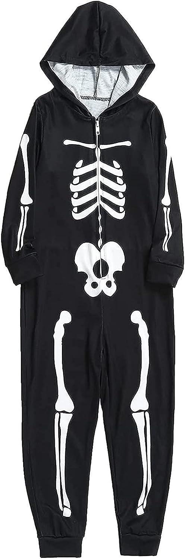 Family Halloween Pajamas Matching Skeleton Print Onesie Pajamas Long Sleeve Festival Party Family Sleepwear Set