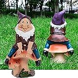 JelyArt Gartenzwerge Figuren, Wetterfest Klassisch Harz Garten Dekoration, Lustig Pilze Reiten Gartenwichtel Figuren Für AußEn Hof Balkon, Puppenhaus Gartendekoration ZubehöR (19cm)