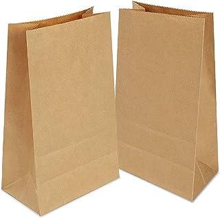 100 Sac Kraft, Sachet Papier Kraft 13x8x24cm,Pochette Kraft,Sacs de Pique-nique, Sacs Kraft Alimentairea pour Sandwich Po...