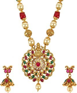 MUCH-MORE Gold Tone Pearl Temple Jewelry Polki Necklace Set Indian Traditional Jewelry