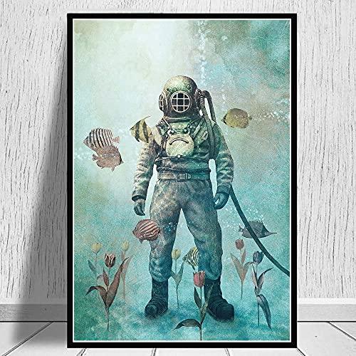 Cuadros decorativos Retro buzos de aguas profundas mundo submarino ballena arte de pared impresiones cartel pintura sobre lienzo cuadros de pared para decoración de sala de estar 20x28pulgadas