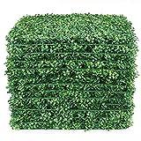 LACKINGONE 12 PCS 50x50 cm Toile de Fond de Mur d'herbe Artificielle, Haie de buis Faux, Panneaux Muraux Vivants de Verdure Protégés Contre les UV Pour Clôture de Jardin Intérieur Extérieur