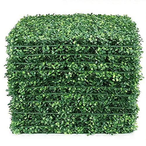 LACKINGONE 12 PCS 50x50 cm Toile de Fond de Mur dherbe Artificielle, Haie de buis Faux, Panneaux Muraux Vivants de Verdure Protégés Contre les UV Pour Clôture de Jardin Intérieur Extérieur