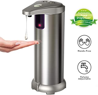 Hanamichi Soap Dispenser, Touchless Automatic Soap Dispenser Equipped Stainless Steel w/Infrared Motion Sensor Waterproof Base Adjustable Switches Suitable for Bathroom Kitchen Hotel Restaurant