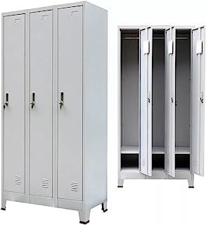 Tuduo Armoire avec 3Armoire en Acier 90x 45x 180cm Gris Solide, résistant, Design Unique Armoire bibliothèque pour Bur...
