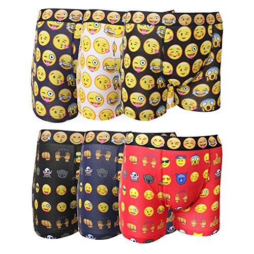 Socksmad Herren-Boxershorts mit Emoji-Motiv, Baumwolle, 6 Stück Gr. M, mehrfarbig