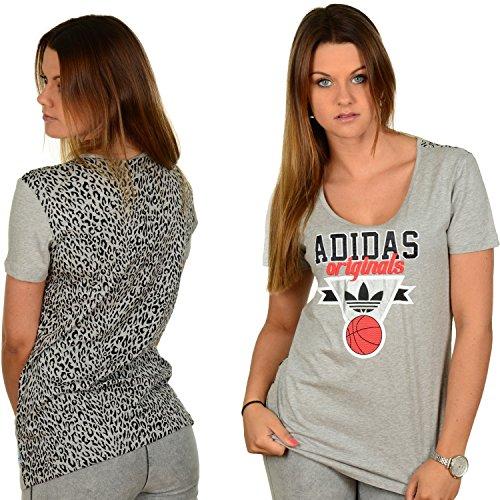 Camiseta adidas Originals para mujer gris con estampado de leopardo BBALL TEE 2 LEO de manga corta para deportes