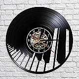 Rgzqrq Pianista Disco de Vinilo Reloj de Pared Sonido de Onda Piano...