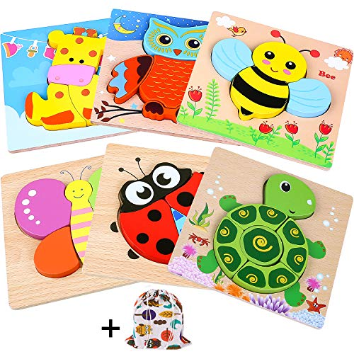 INNOCHEER Wooden Animal Jigsaw Puzzles for Toddlers, Educational Toys with 6pcs Chunky Bright Vibrant Color Shapes Lovely Animal, Extra Drawstring Bag for Easy Storage
