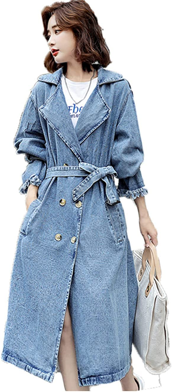 Women Fashion Loose Distressed Denim Jacket Button Down Coat Casual Jean Outerwear