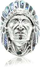 Blue Apple Co. Simulated Abalone Native Indian Chief Warrior Head Ring 925 Sterling Silver