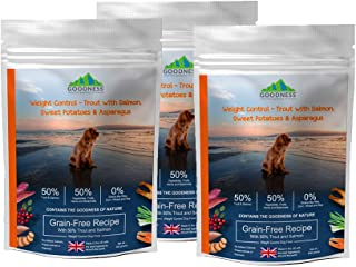 Goodness Weight Control - Trout with Salmon, Sweet Potato & Asparagus Grain Free Dog Food for Overweight & Obese Dogs (500 Grams (Pack of 3))