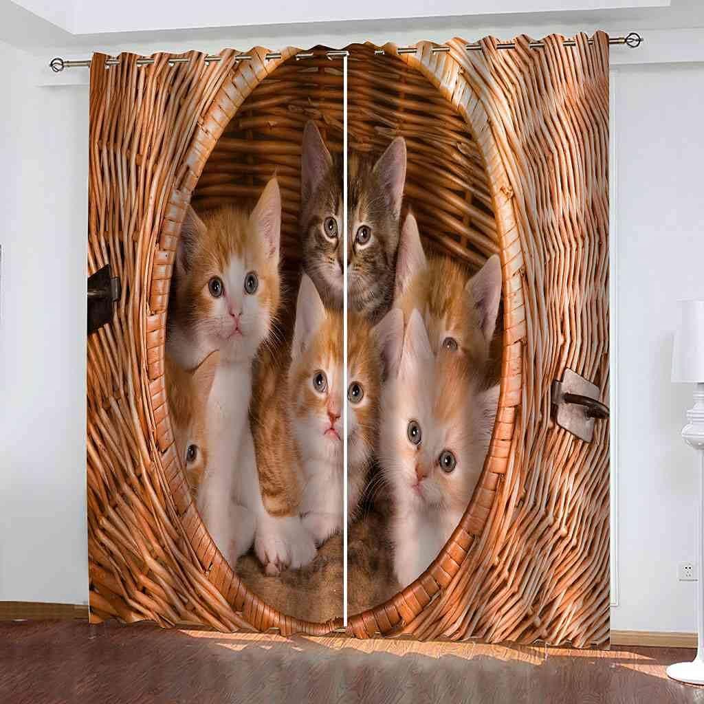 YHIZKD NEW before selling ☆ Curtains for Bedroom Bamboo Eyelet Kitten B Basket Animal shopping