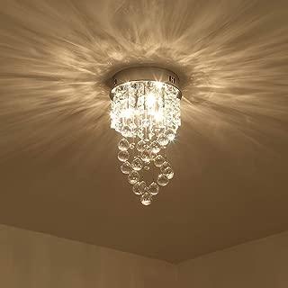 Mini Crystal Chandelier with 1 Light Modern Raindrop Ceiling Light Pendant Light Fixtures Flush Mount Lamp for Living Room, Bedroom, Study Room