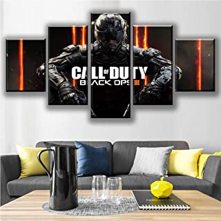 HSART Canvas Painting HD Print Wall Art 5 Pieces Black Ops 4 Call Duty Game Pictures Modular Abstract Poster Living Room Decor,B,20x30x2+20x50x1+20x40x2