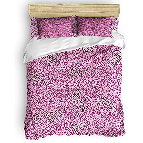 Funda nórdica de 3 Piezas - Juego de Funda de edredón Floral de Piel de Leopardo de Animal Salvaje púrpura y patrón de Cebra/Juego de Cama con Cierre de Cremallera