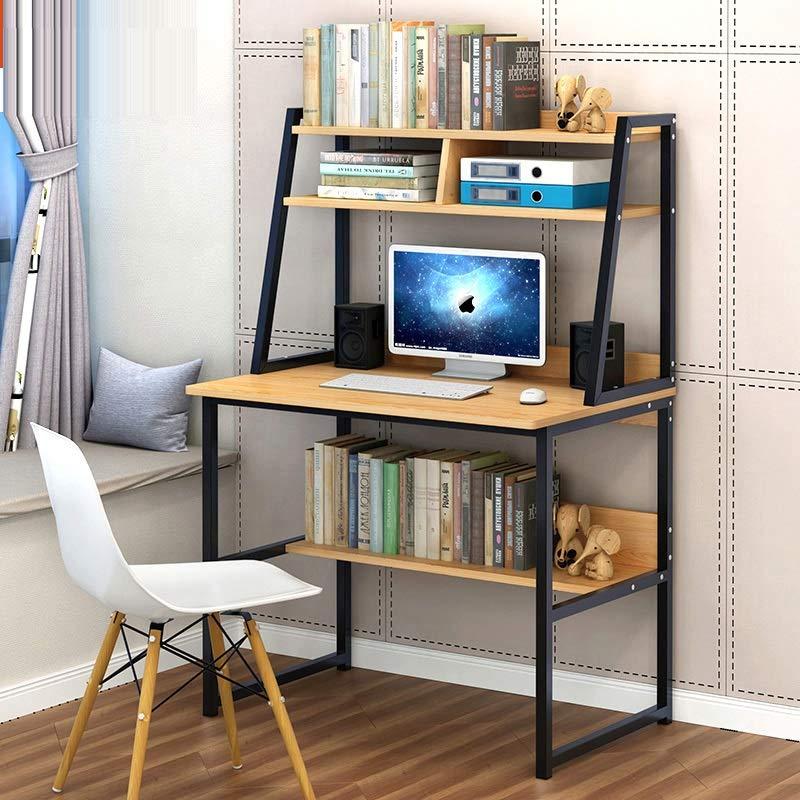 电脑桌带书架多层置物架台式桌学习桌书桌家用简约书房桌卧室桌子抽屉书柜书桌一体办公桌写字台 (B款80cm 两层黄梨木色)