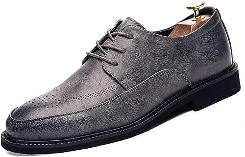 Bangxiu Herren Lederschuhe PU-Leder Anti-Rutsch-Business Oxford Breathable Schuhe Formelle Business-Bequeme Abendschuhe (Farbe   Grau, Größe   42 EU)