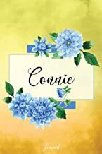 Connie Journal: Blue Dahlia Flowers Personalized Name Journal/Notebook/Diary - Lined 6 x 9-inch size with 120 pages
