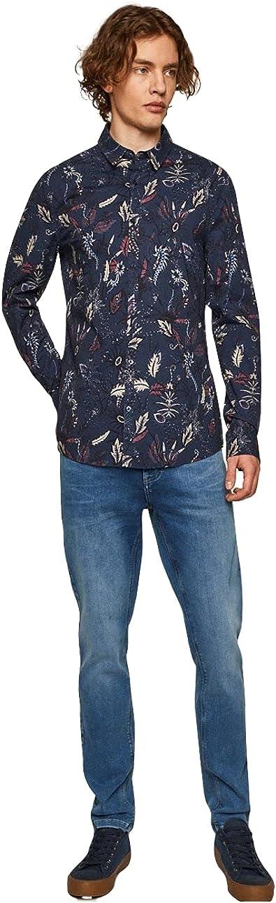 Organic Cotton Men's Long Sales for sale Deluxe Sleeve Blue xx_l Shirt Fit Slim