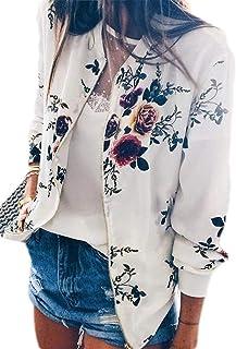 Women Floral Zipper Jacket Classic Long Sleeve Bomber Jacket Coat
