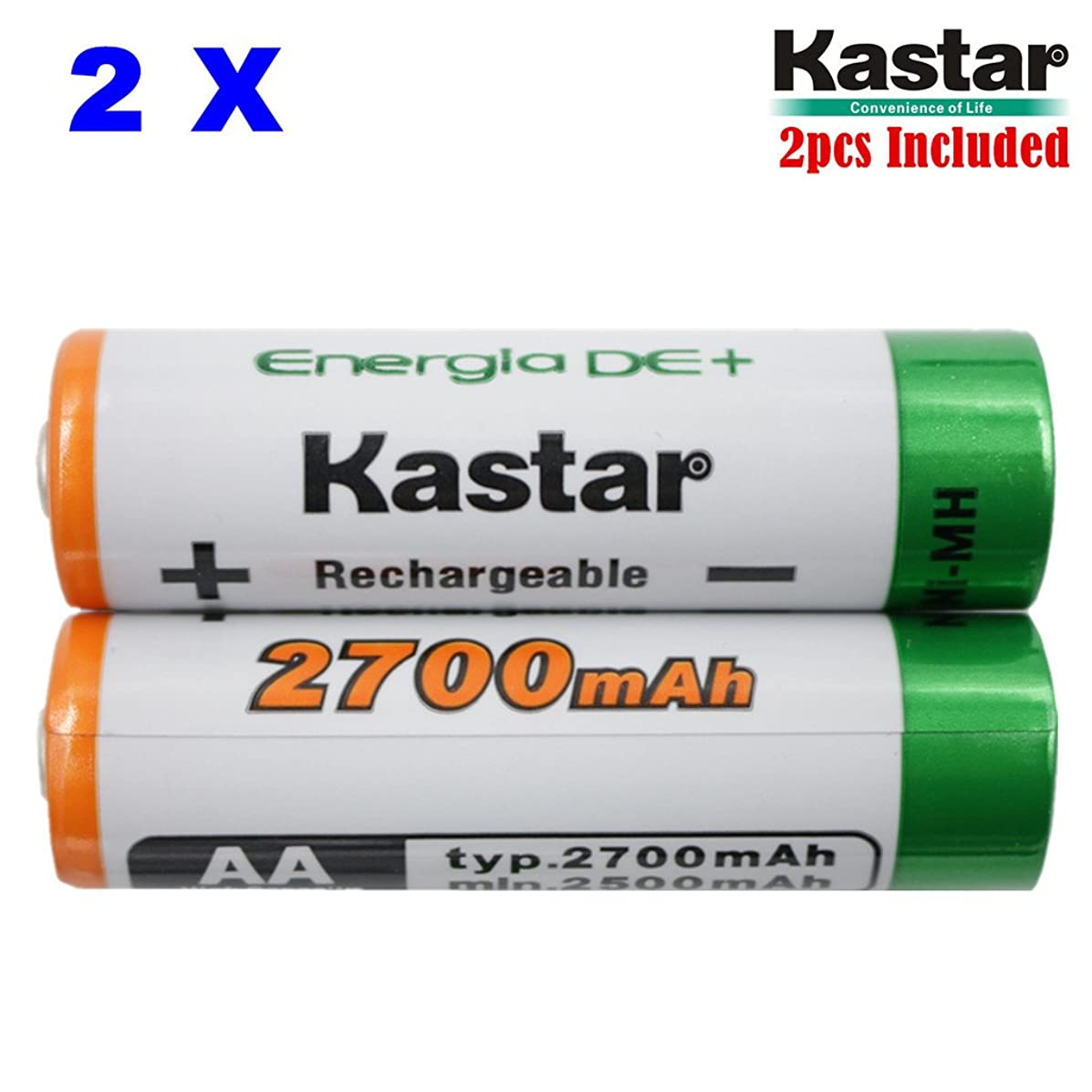 Kastar AA (2-Pack) Ni-MH 2700mAh Super High-Capacity Rechargeable Batteries Pre-Charged.