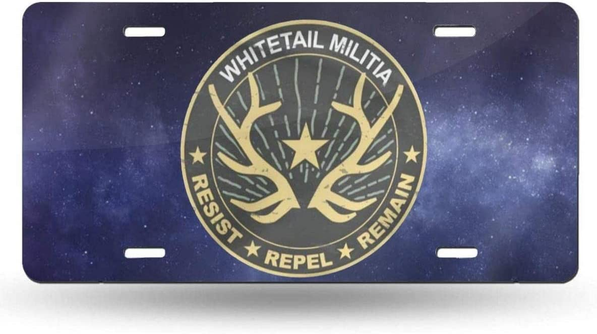WSEDRF Whitetail Militia License Plate Car Cover Long Beach Mall Tag New item Decorative