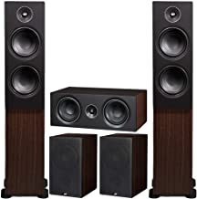 PSB Alpha Speakers Bundle: T20 Floorstanding (Pair), P5 Bookshelf (Pair), and C10 Center Channel in American Walnut