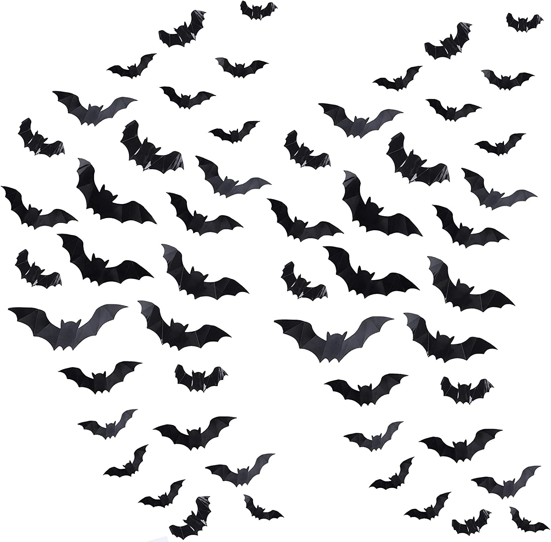 96Pcs 3D NEW before Large-scale sale selling Bat Halloween Decoration Bats Wall Black PVC Stickers