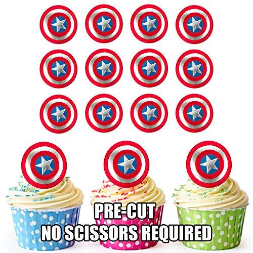 Les Cut Captain America Elle Préserve – comestibles pour gâteaux d'anniversaire/décorations (lot de 24)