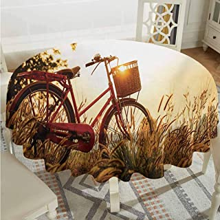 ScottDecor Dinning Round Tablecloth Bicycle Classic Retro Style Bike in Sepia Tones Romantic Sunset Rural View Picture Red Orange Yellow Christmas Tablecloth Diameter 36