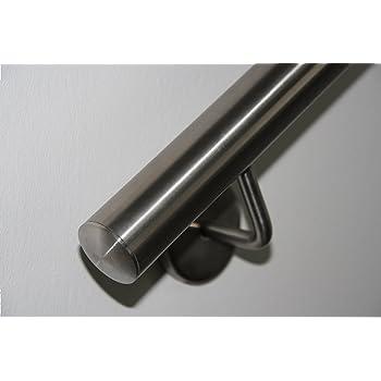 Edelstahlhandlauf L/änge 0,3m 6m aus einem St/ück /& unterschiedlichen Endst/ücken zum Ausw/ählen /Ø 42,4 mm mit gewinkelte Halter Enden mit gerade Kappe Beispiel:L/änge 110 cm mit 2 Halter